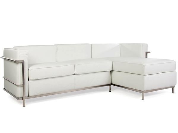 Divani Tre Posti Ad Angolo.Lc2 Divano Ad Angolo Le Corbusier 3 Posti Bianco